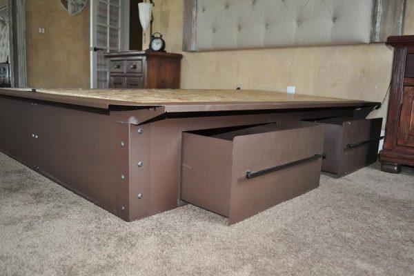 Pedestal Brown Steel Bed Frame