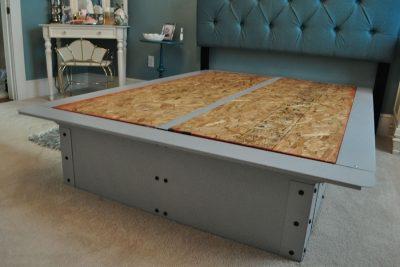 Pedestal Steel Gray Bed Frame Project Image